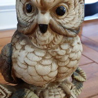 Large Vintage Retro Brown Painted Ceramic Owl Figurine Statue Great Spring Woodland Decor