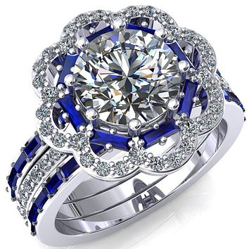 Camelia Round Moissanite Accent Diamond and Blue Sapphire Halo Ring