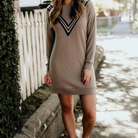 Just My Style Ribbon Applique Sweatshirt Dress