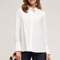 Belled Poplin Shirt, White