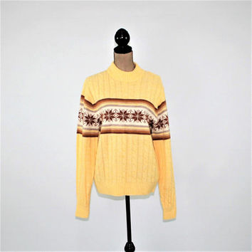 70s Sweater Women Pullover Nordic Ski Sweater Yellow Brown Medium Winter Sweater 1970s Clothing 70s Jantzen Vintage Clothing Womens Clothing