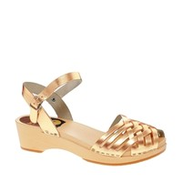 Swedish Hasbeens Braided Gold Low Wedge Sandals