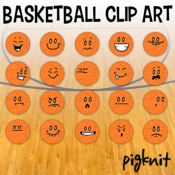 Basketball Clip Art, Basketball Emoticons, Basketball Faces, March Madness Clipart, School Download, School Sports, Smiley Face Clip Art