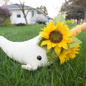 Sunflower Narwhal Stuffed Animal Plush Toy Plush, One of a Kind, Spring Flower Narwhal