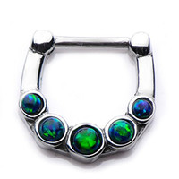 316L Septum Nose Ring Clicker 16g 5pcs BLACK opal gem--FREE Gift Box w 77