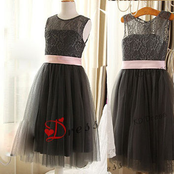 On Special Gray Lace/Tulle Flower Girl Dress Children Birthday Party Dress Kids Dress with Ribbon(Z1006)