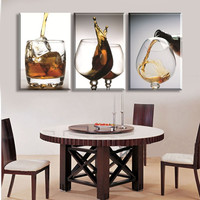 Unframed 3 Panel Wine Cup Glass Modern Wall Painting Picture Paint On Canvas