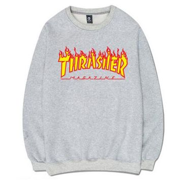 Thrasher Women Men Popular Letter Print Hip hop Top Sweater Sweatshirt Grey