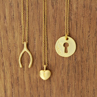 key to my heart necklace, delicate, matte gold plated, boho chic