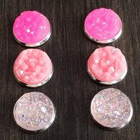 Druzy earring set- Pink princess drusy stud set - druzy earrings
