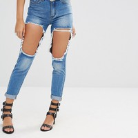 Missguided Riot High Rise Open Thigh Slim Leg Jeans at asos.com