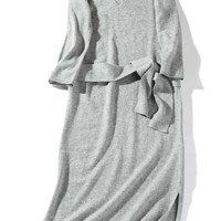 Gray Casual Knitted Midi Dress with Waist Belt