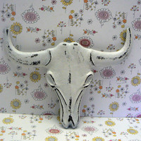 Longhorn Cast Iron Cow Skull White Western Wall Accent Rustic Boho Bathroom Southwestern Wall Decor Bull Head Country Western  Man Cave