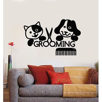Vinyl Wall Decal Grooming Salon Groomer Beauty Cat Dog Pets Animal Stickers Mural (g1463)