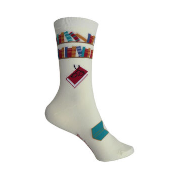 Reading Books Crew Socks in Cream