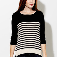 Not Your Turn Striped Black Sweater