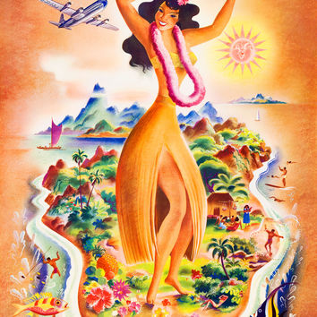 Orange Hawaii Travel Poster United Air Lines