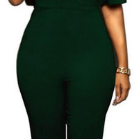 Deep V-neck Falbala Backless Long Slim Jumpsuit