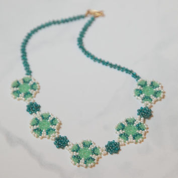Ice Flowers Beaded Choker