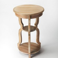Sloane Transitional Round Tiered Accent Table Gray