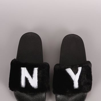 Qupid Embroidery NY State Faux Fur Slide Sandal