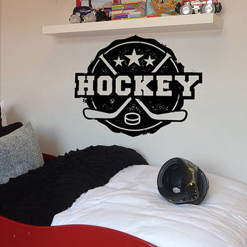 kik611 Wall Decal Sticker Room Decor Wall Art Mural hockey stick puck emblem word sport teen bedroom kids room rink