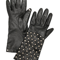 Round Pyramid Stud Leather Tech Gloves