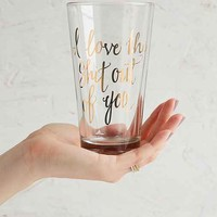 I Love You Pint Glass - Yellow One