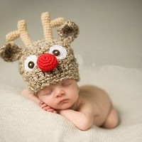Christmas Santa's Reindeer Crochet Toddler Baby Girl Boy Hat Beanie