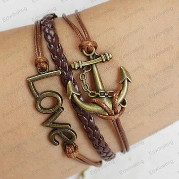 personalized  bracelet - bronze love  bracelet for him   mens womens bracelets brown leather  bracelets N020