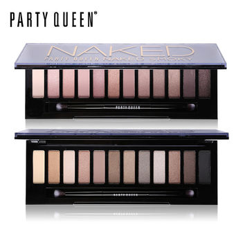 Party Queen 12 Colors Shimmer Matte Naked Eye Shadow Palette Makeup Neutral Glitter Smoky Eyeshadow With Mirror+Dual Ended Brush