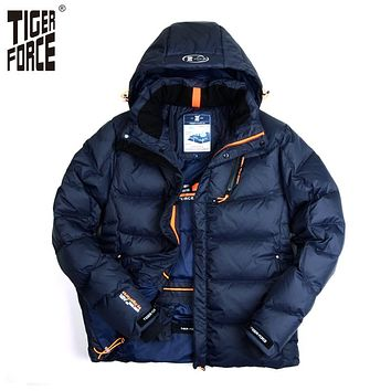 TIGER FORCE 2017 Men Winter Jacket Fashion Padded Cotton Coat Parka Winter Thick Polyester Jacket Downsulate Brand Free Shipping