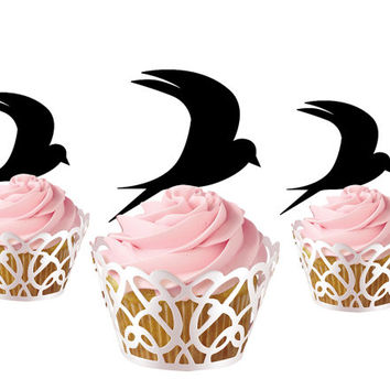 6 pcs a set swallow CupCake toppers cake decor for kids birthday party, acrylic cupcake toppers for child, funny cake topper supplies