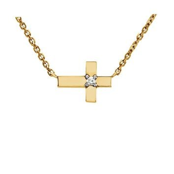 Diamond Accent Sideways Cross Necklace in 14k Yellow Gold, 18 Inch