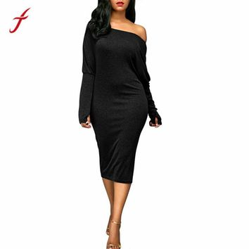 Long Sleeve Loose Dress Evening Party Mid Calf Black Dress