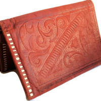 Vintage Ladies Soft Deer Leather Red Wallet