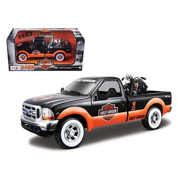 1999 Ford F 350 Pickup Truck With Harley Davidson 1936 El Knucklehead Motorcycle 1/24 Orange/Black & White Wheels by Maisto