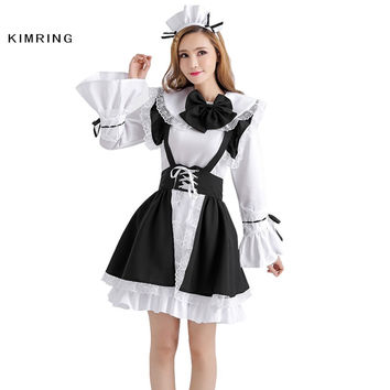 KIMRING FANTASY MAID COSPLAY COSTUME ADULT WOMENS HALLOWEEN COSTUME LOLITA FANCY DRESS CARNIVAL MAID COSTUME