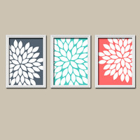Navy Aqua Coral Flower Burst Dahlia Bloom Artwork Set of 3 Trio Prints Wall Decor Abstract Art Picture Silhouette