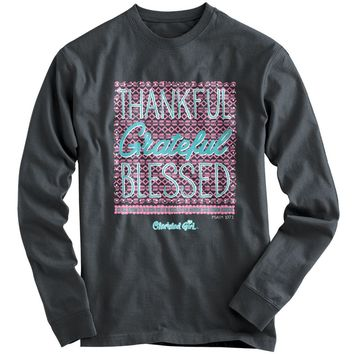 Cherished Girl Thankful Grateful Blessed Christian Bright Long Sleeve T Shirt