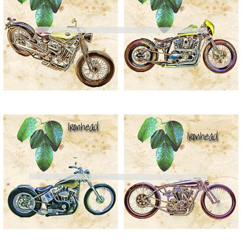 Harley Ironhead Motorcycles Altered Art - Coasters Artwork, 4.0 inch Squares, Arts and Craft Projects