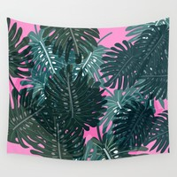 Palm Leaves Pattern Wall Tapestry by Sagacious Design