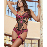 Stunning Lace Teddy W-wired Cups & Cheekini Bottom W-leg Garters Pink Hibiscus O-s