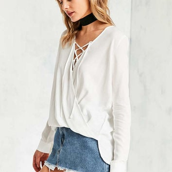 Silence + Noise Lace-Up Surplice Blouse - Urban Outfitters