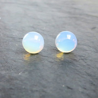 Opal Earrings, Water Drop Post Earrings, Opaque White, Wedding Jewelry, Teenie Tiny Studs, Summer Jewelry, Winter White, Opal Stud Earrings