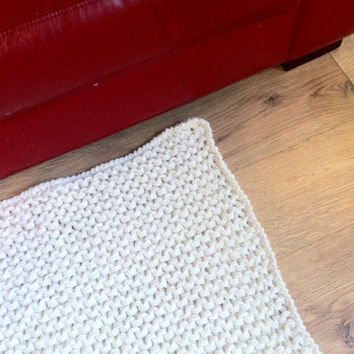 """Huge, Chunky, Timeless, Knitted Rug, Throw, Cream, Statement Piece, 34""""x 26"""", 100% Felted yarn,  Sturdiness. **READY TO SHIP**"""