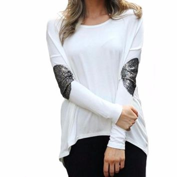 Women's White Long Sleeve T-Shirt Blouse with Sequin Elbow Patch Detail
