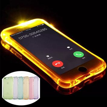 LED Flash Lighting Up Phone Case for Apple iPhone 5 5S SE 6 6S 7 Plus Remind Incoming Call Light Soft TPU Transparent Back Cover