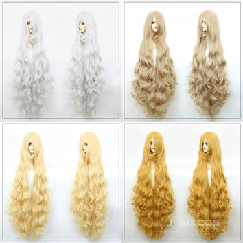 120cm COSPLAY LOLITA WIGS anime Harajuku long wavy Curly wig woman Natural Synthetic Hair Sexy Blonde Wigs Female Peruca Pelucas