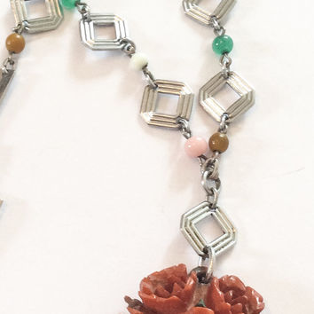 Bakelite Necklace, Bakelite Rose Pendant, Bead, Art Deco Vintage Jewelry, Gift for Her SPRING SALE